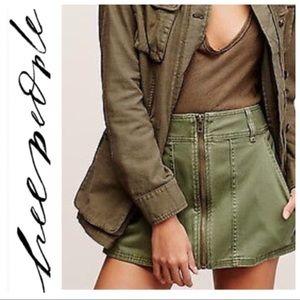 Free People Army Green Mini-Skirt